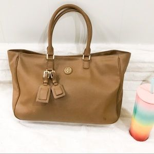 Tory Burch tan vegan leather tote